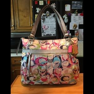 Coach Poppy IKAT Blue Pink Sateen Tote Shoulderbag